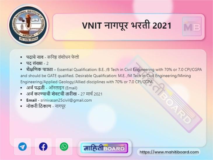 VNIT Nagpur Bharti 2021