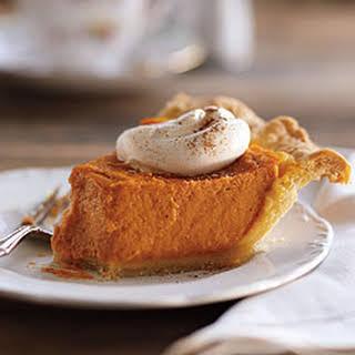 Classic Pumpkin Pie With Yogurt Whipped Cream.