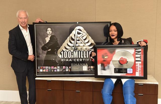 Rihanna in Acne Sweatshirt, Silver Spoon Attire Behind the Scenes Work
