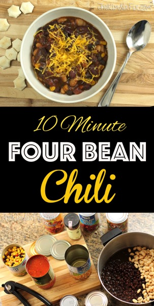 10 minute four bean chili: Easy to make using canned beans and tomatoes