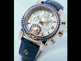 Jual jam tangan Aigner romawi blue leather