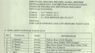 Hari Libur Nasional Dan Cuti Bersama Sesuai SKB Hari Libur Nasional Dan Cuti Bersama Sesuai SKB 3 Menteri ( Agama, Ketenagakerjaan dan Menpan-RB )