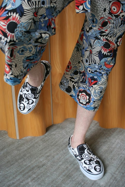 Floral cotton voile Thai fisherman pants made with fabric from Mood Fabrics NYC.