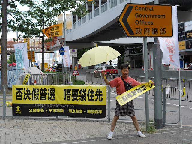 Umbrella Movement supporter holding a banner and yellow umbrella while posing for a photograph outside Hong Kong's Legislative Council Complex