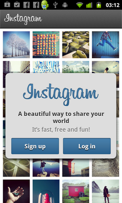 Welcome Screen on Instagram of Android