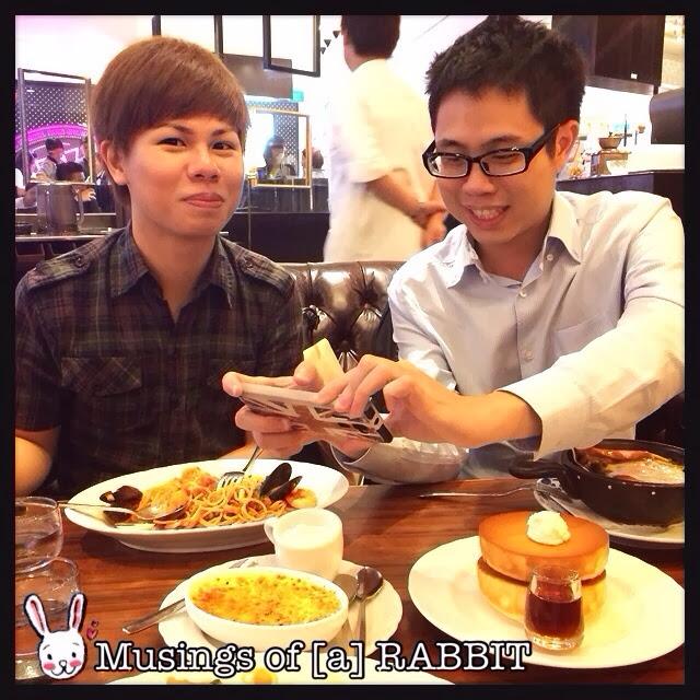 Edwin and Alvin happily snapping photos @ Hoshino Coffee 星乃珈琲店 @ Plaza Singapura