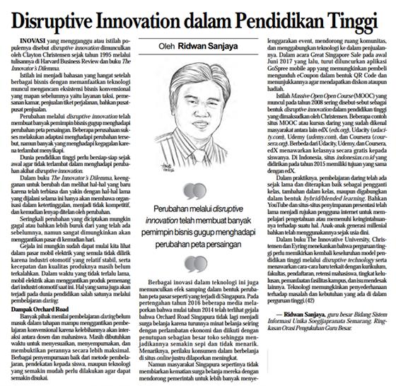 Disruptive Innovation dalam Pendidikan Tinggi
