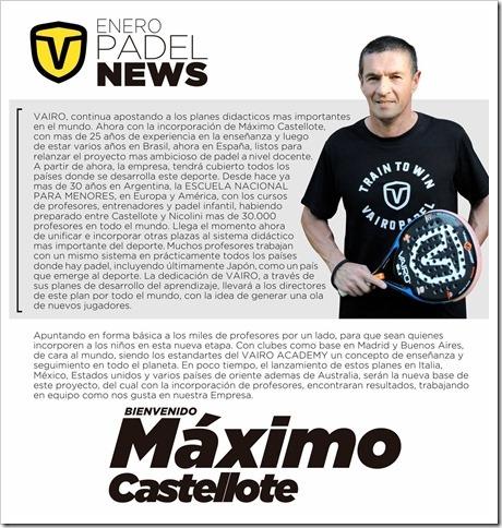 VAIRO Pádel y Máximo Castellote juntos. Nuevo #TeamManager de la prestigiosa firma.