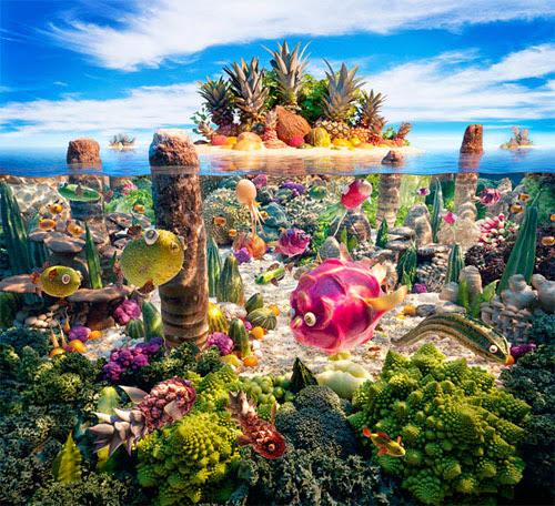 Phong cảnh nghệ thuật từ thực phẩm, rau quả (bài 1)