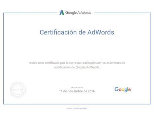 Certificado de experto en AdWords
