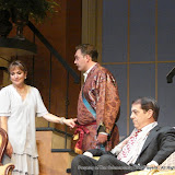 Benita Zahn, Randy McConnach and John Massaroni in THE ROYAL FAMILY (R) - December 2011.  Property of The Schenectady Civic Players Theater Archive.