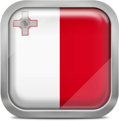 Malta square flag with metallic frame