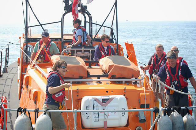 Poole cfrew members enjoying an exercise in Poole Bay Photo: RNLI Poole/Dave Riley
