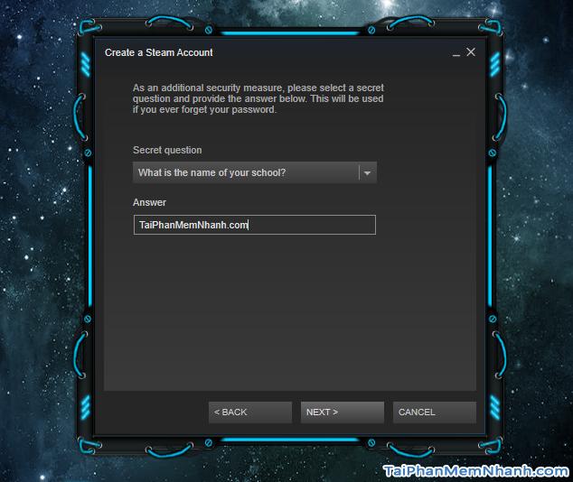 Câu hỏi bảo vệ tài khoản Steam