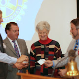 Two clubs presenting checks to the Sebastopol Rotary Club