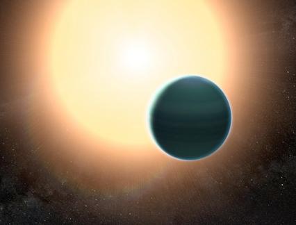 ilustração da atmosfera do exoplaneta HAT-P-26b