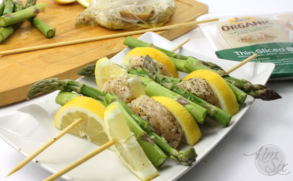 Chicken lemon and asparagus skewers