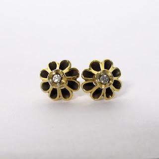 14K Gold & Clear Stone Earrings