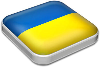 Flag of Ukraine with metallic square frame