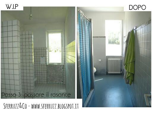 Sferruzz co t g house il bagno blu makeover parte 3 - Ricoprire piastrelle bagno ...