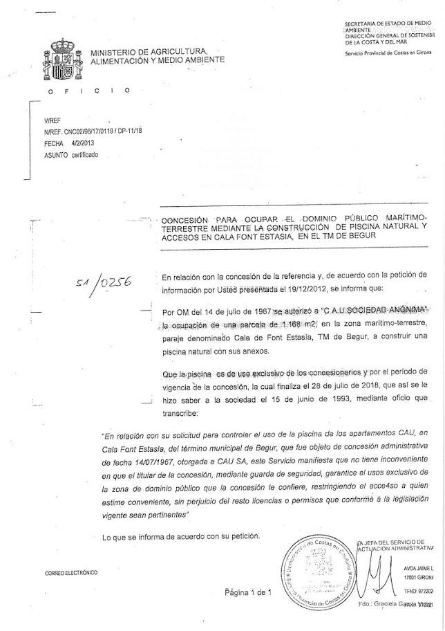 documentación relativa a la ley de costa procedente del estado español respecto a la piscina natural en Begur