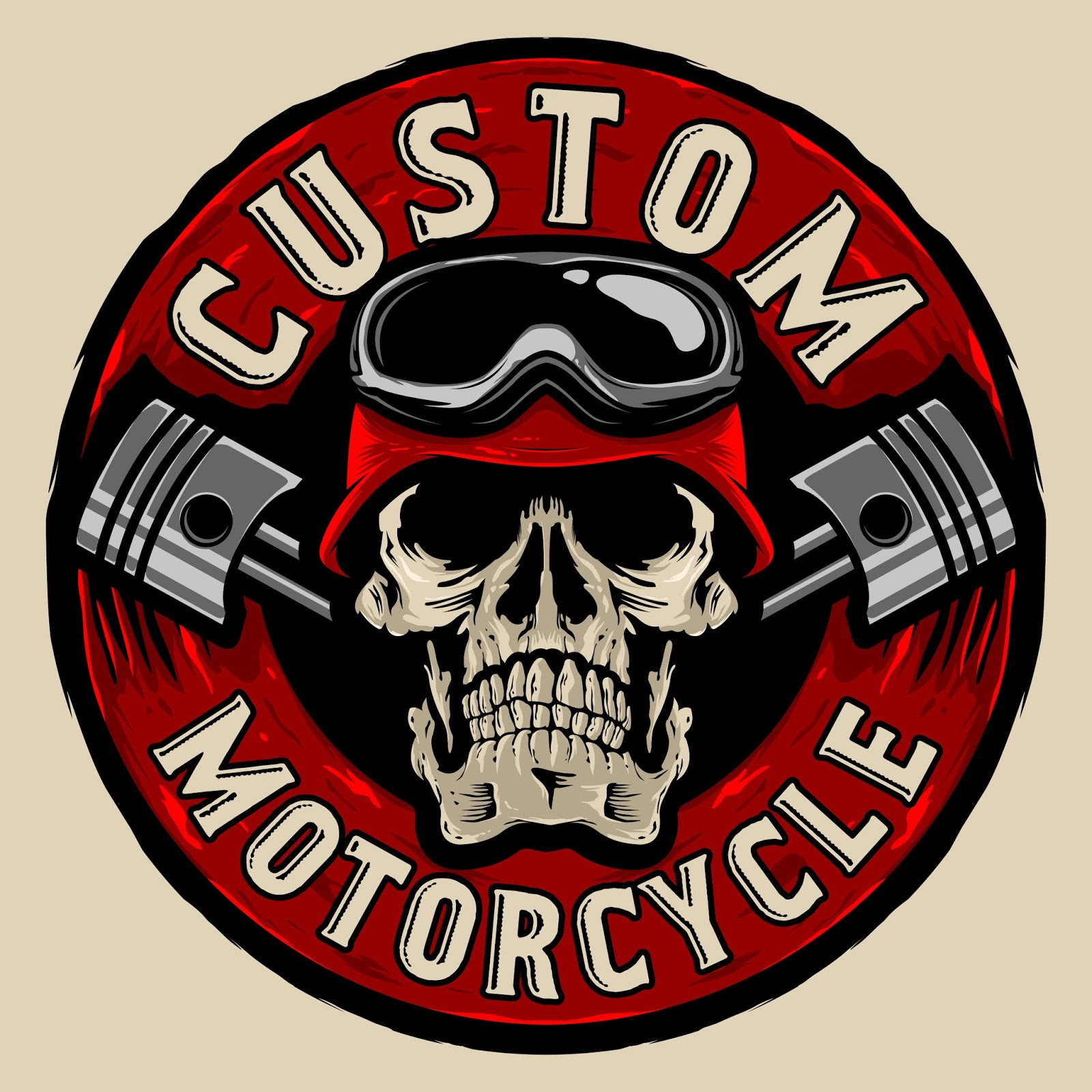 Skull Bikers Custom Logo Free Download Vector CDR, AI, EPS and PNG Formats