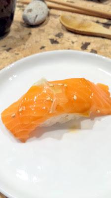 Salmon with shiso, freh ginger, sesame at Nodoguro SupaHardCore May 29, 2016