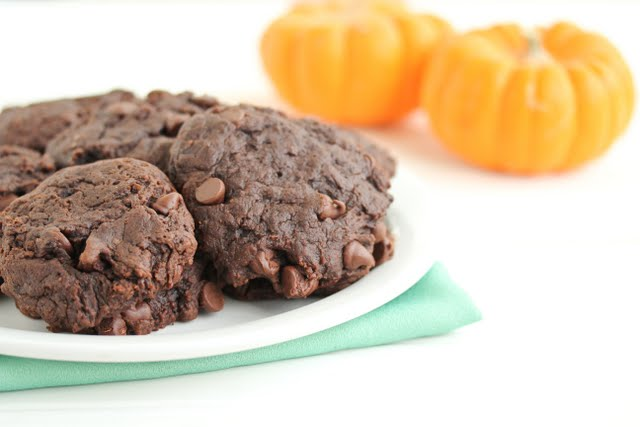 Double Chocolate Chip Pumpkin Cookies on a plate