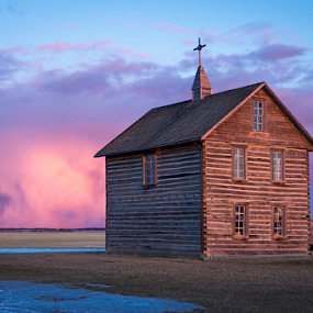 True North Canadian Pioneer Church by Charles Adam - Buildings & Architecture Public & Historical ( clouds, church, colors, pioneer, north, worship, historic, field, landmark, sky, winter, sunset, snow, weather, settlers, evening )
