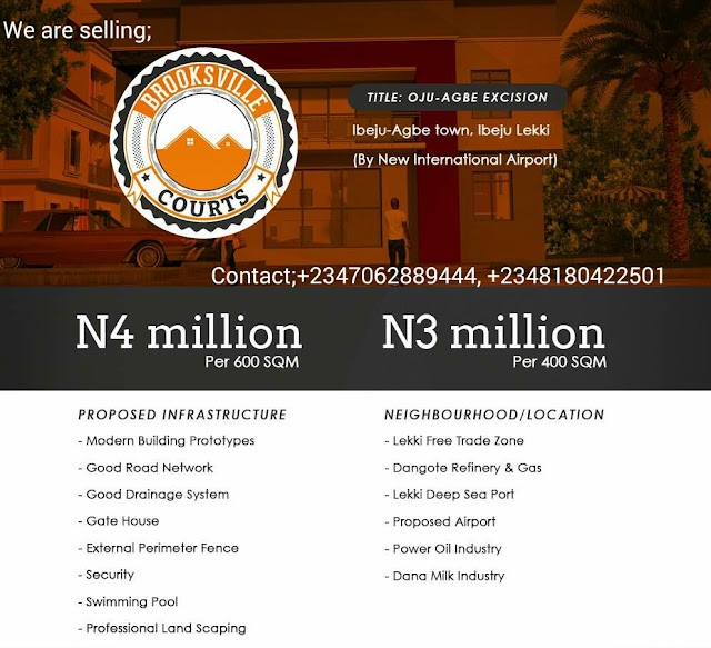 BROOKSVILLE COURTS, IBEJU LEKKI, LAGOS (LAND FOR SALE)