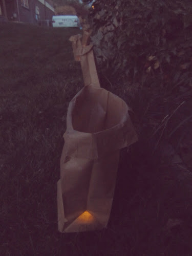 Brown paper bags with battery candles