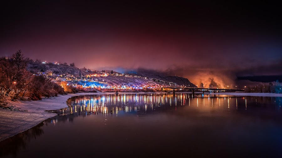 Nightime Colours by Garry Dosa - Landscapes Waterscapes ( reflections, night, winter, water, outdoors, waterscape, night sky, snow, bridge, river, landscape, lights, park, colours )