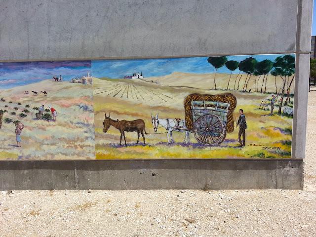 Mural La recogida del piñón, de Pascual Aranda
