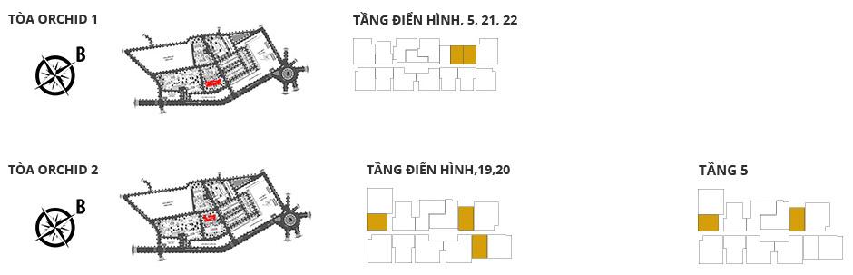 Vị trí các tòa tháp, các tầng có căn hộ 1 phòng ngủ diện tích 52,28m²