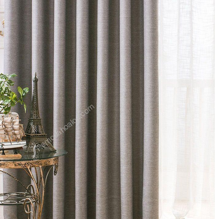 rèm vải đẹp hà nội một màu ghi xám 12