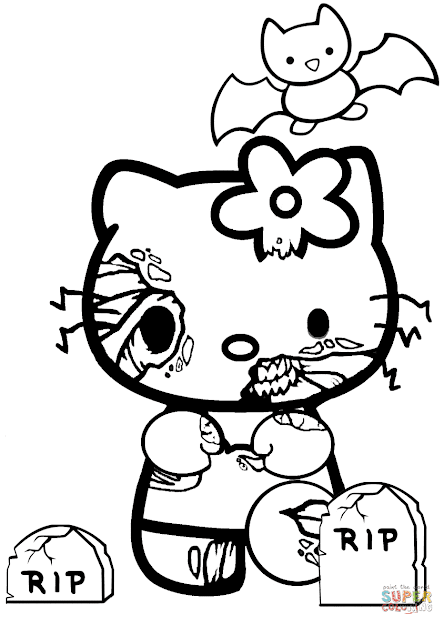 Click The Hello Kitty Halloween Zombie Coloring Pages