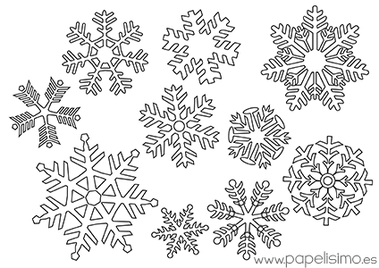Copos de nieve para colorear - Papelisimo