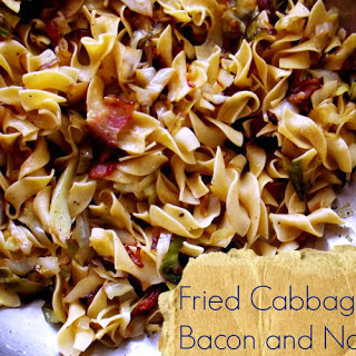 Fried Cabbage with Bacon and Noodles.