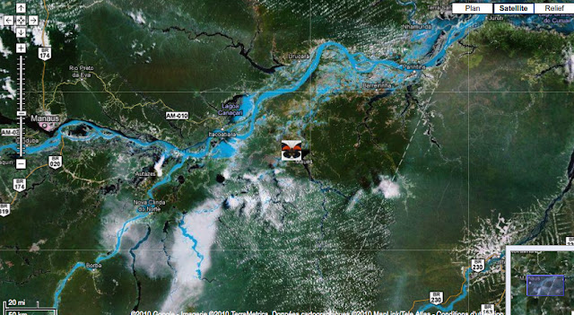 Localisation du Rio Maues, au Sud de l'Amazone, entre le Madeira (à l'Ouest) et le Tapajos (à l'Est)