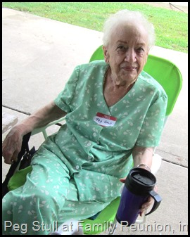 Peg Stull, 2013, enjoying Weber Kuhn Family Reunion
