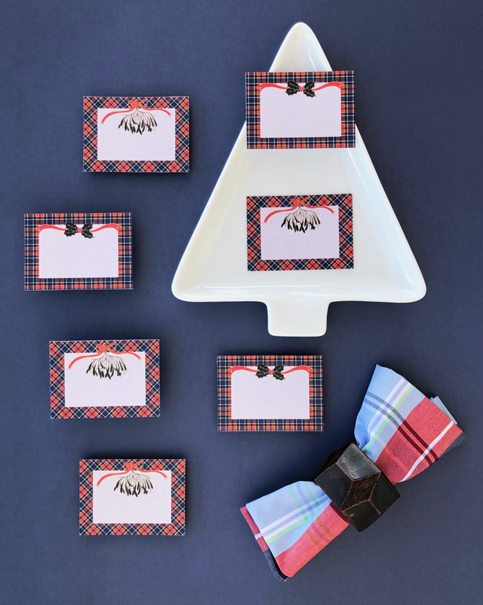 place cards, brunch, lunch, dinner, party, Scottish, pattern, decoration, table, holidays, Christmas