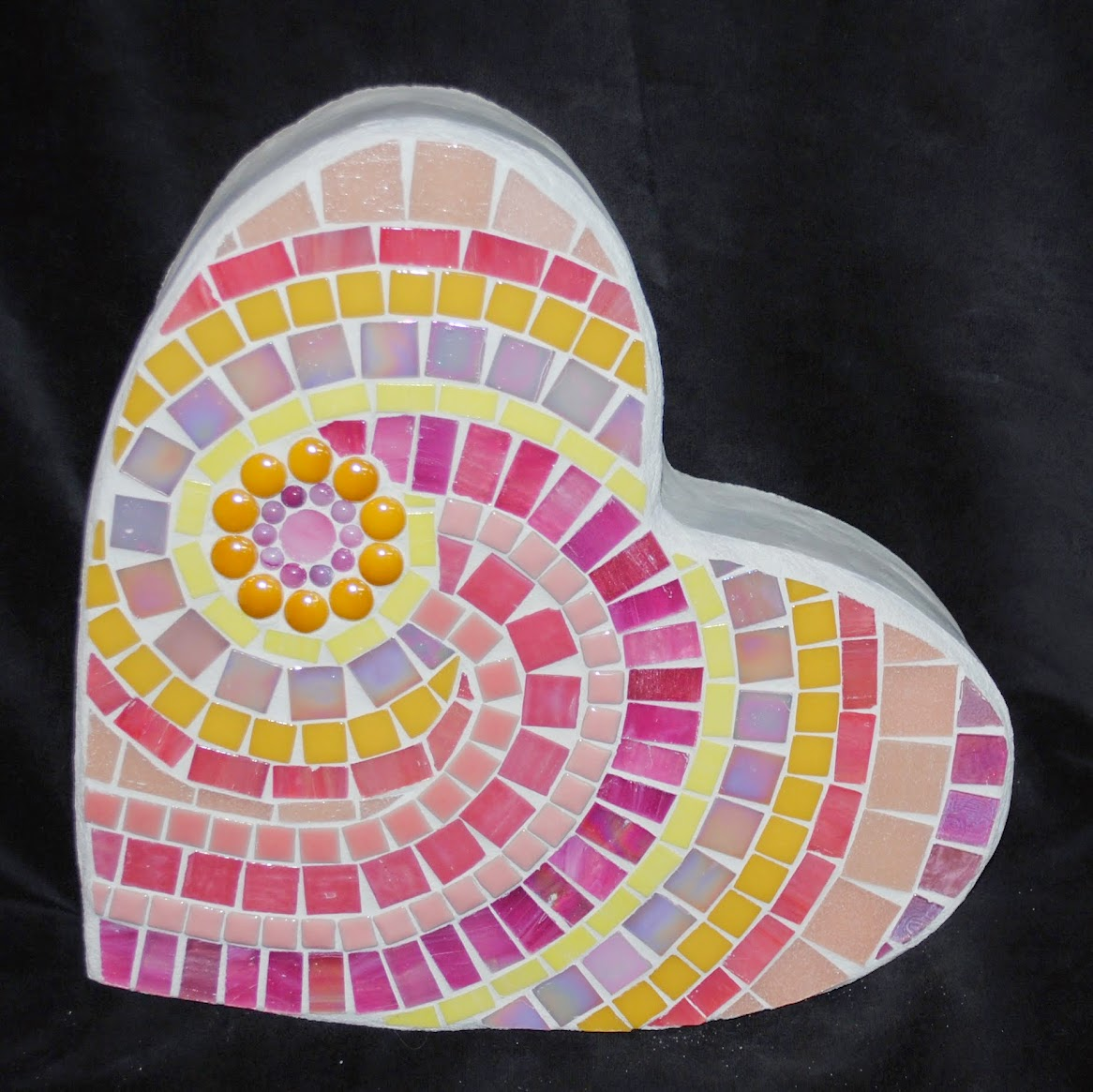 Just Peachy Small Mosaic Heart Stepping Stone MOO5052