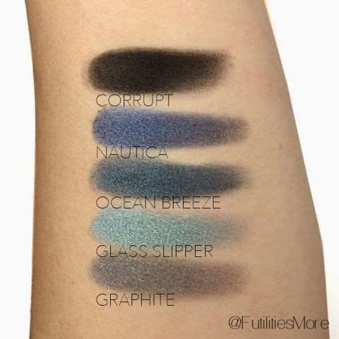Makeup geek eyeshadow swatches: corrupt, nautica, ocean breeze, glass slipper, graphite