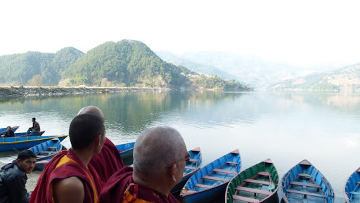 Lama Zopa Rinpoche looks out over Lake Begnas, Pokhara, Nepal, February 2012. A 33-meter (108-foot) high Guru Rinpoche statue is planned to be built on the lake, which is about 3/4 hours by car from the Pokhara Centre. Photo courtesy of Gaden Yiga Chozin.