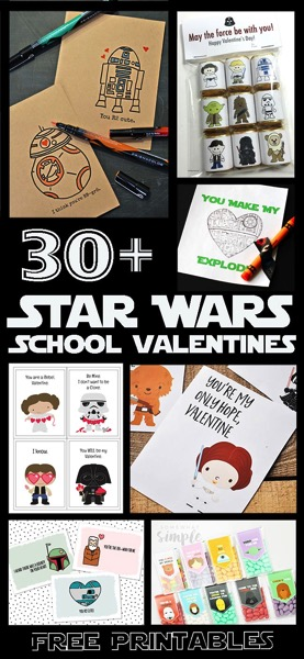 30 Free Printable Star Wars School Valentines. So many great ideas for boys and girls.. from the entire movie series!