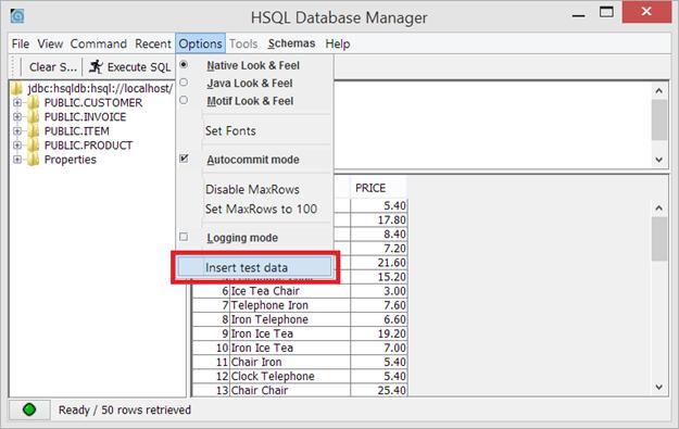 hsqldb agregar datos de prueba