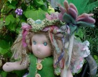 Custom Order:  Rosebud Fairy Doll  13 inch Waldorf Doll w/ Staff and Antique Chenille Wings