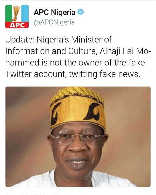 Lai Mohammed Disowns Twitter Account