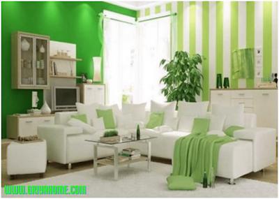 Ruang Tamu Rumah Minimalis Warna Hijau
