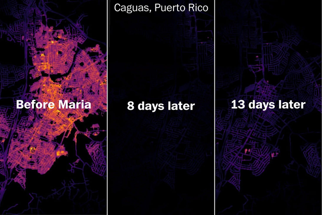 Satellite view of outdoor lighting conditions in Caguas, Puerto Rico, before Hurricane Maria struck, on 28 September 2017, and on 8 October 2017. Nighttime light data from NASA Suomi NPP — VIIRS. Photo: NASA